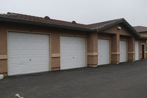 Driveway with several garages in a row