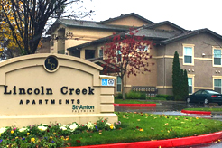 Lincoln Creek exterior with sign
